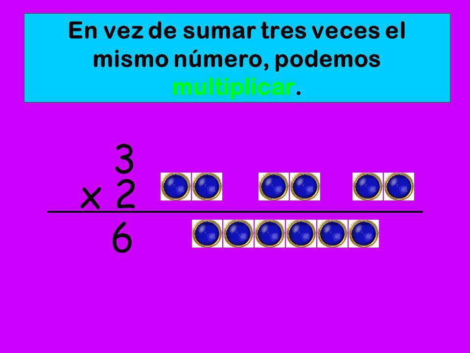 En vez de sumar tres veces el mismo número, podemos multiplicar.