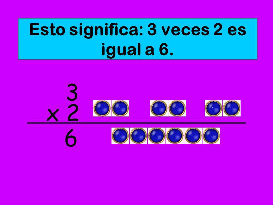 Esto significa: 3 veces 2 es igual a 6.