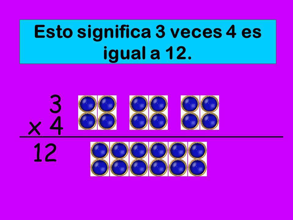 Esto significa 3 veces 4 es igual a 12.