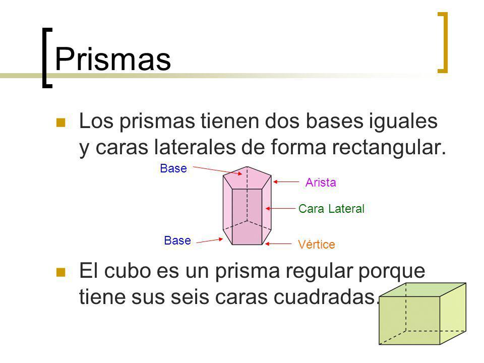 Prismas Los prismas tienen dos bases iguales y caras laterales de forma rectangular.