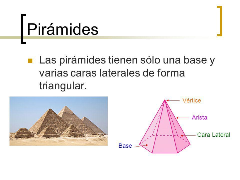 Pirámides Las pirámides tienen sólo una base y varias caras laterales de forma triangular. Vértice.