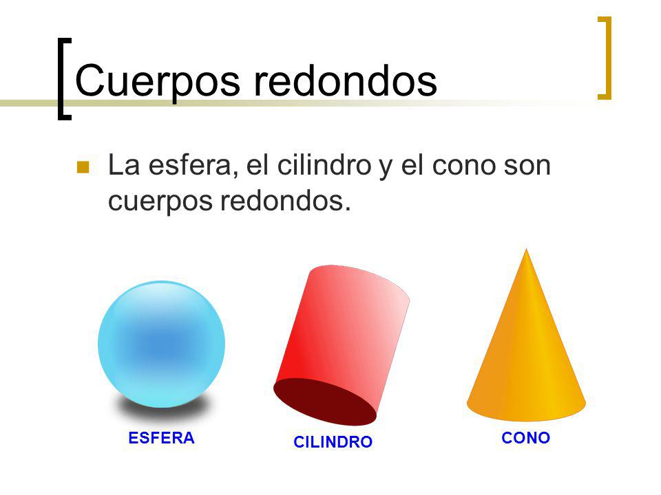 Cuerpos redondos La esfera, el cilindro y el cono son cuerpos redondos. ESFERA CILINDRO CONO