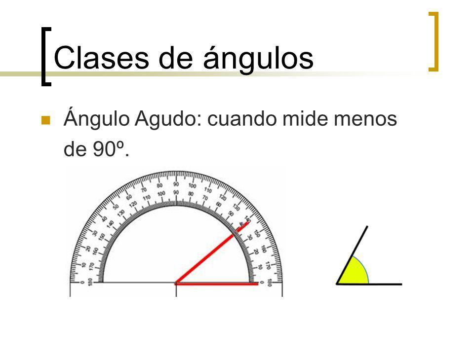 Clases de ángulos Ángulo Agudo: cuando mide menos de 90º.