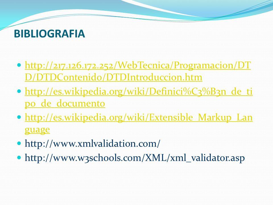 BIBLIOGRAFIA http://217.126.172.252/WebTecnica/Programacion/DTD/DTDContenido/DTDIntroduccion.htm.