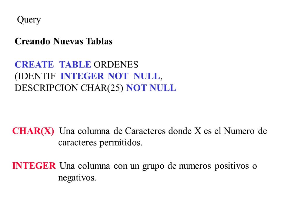 Query Creando Nuevas Tablas. CREATE TABLE ORDENES. (IDENTIF INTEGER NOT NULL, DESCRIPCION CHAR(25) NOT NULL.