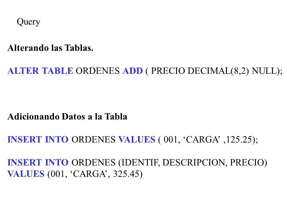 QueryAlterando las Tablas. ALTER TABLE ORDENES ADD ( PRECIO DECIMAL(8,2) NULL); Adicionando Datos a la Tabla.