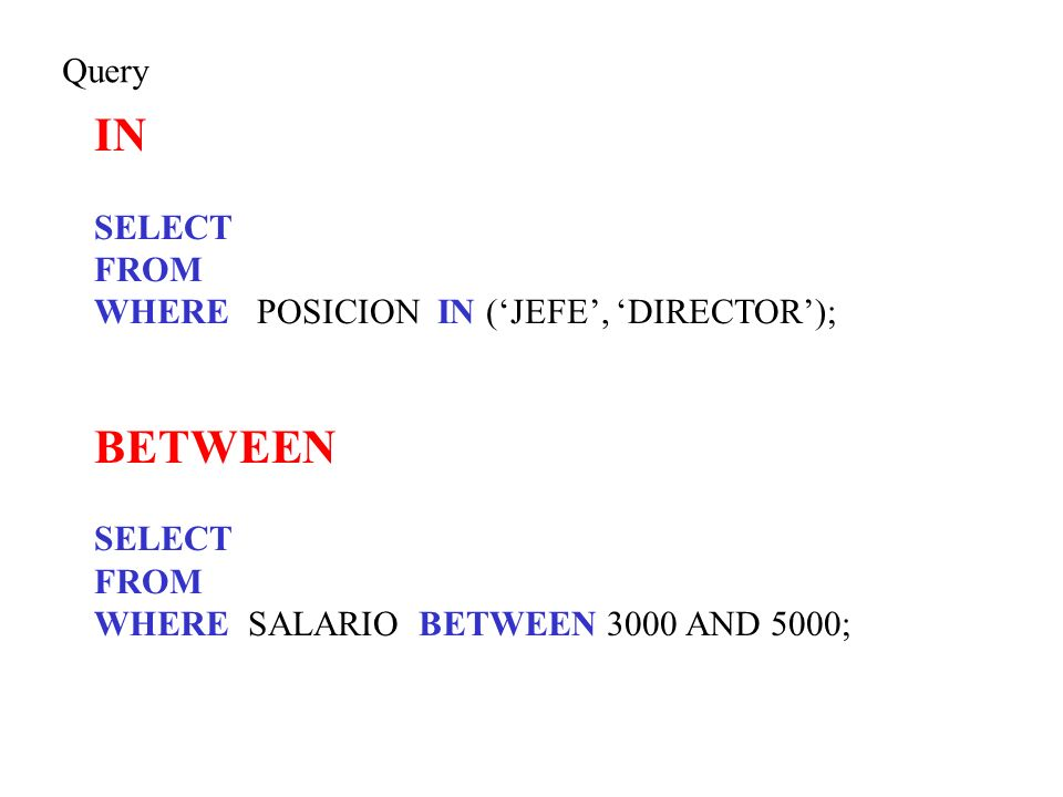 IN BETWEEN Query SELECT FROM WHERE POSICION IN ('JEFE', 'DIRECTOR');