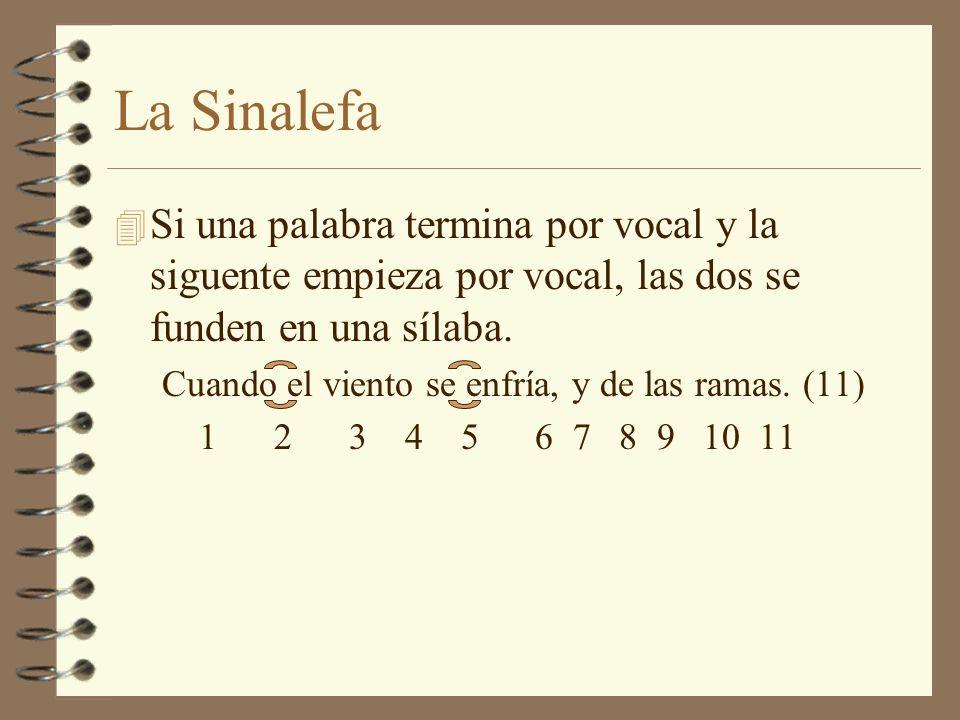 La Sinalefa Si una palabra termina por vocal y la siguente empieza por vocal, las dos se funden en una sílaba.