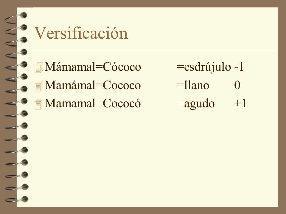 Versificación Mámamal=Cócoco =esdrújulo -1 Mamámal=Cococo =llano 0