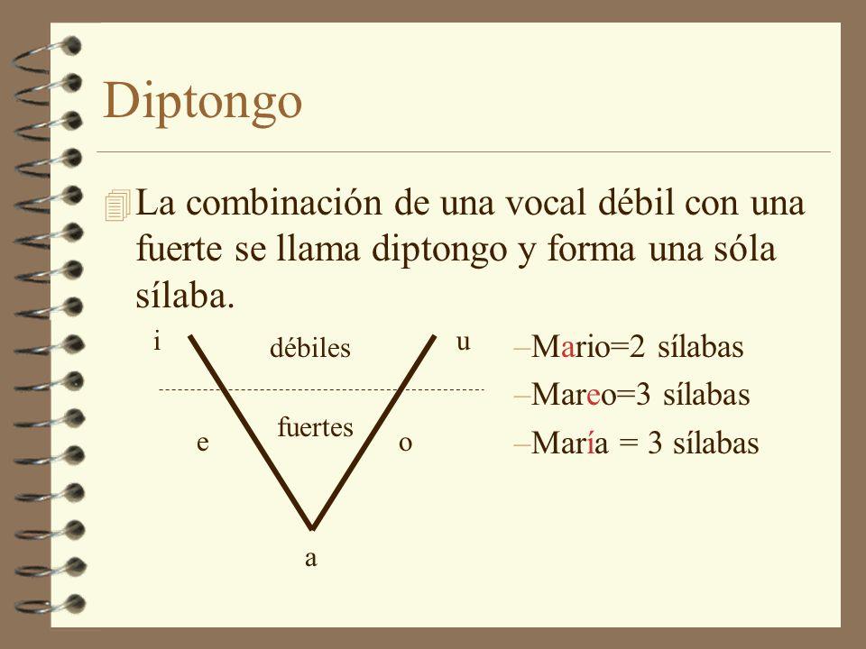 Diptongo La combinación de una vocal débil con una fuerte se llama diptongo y forma una sóla sílaba.