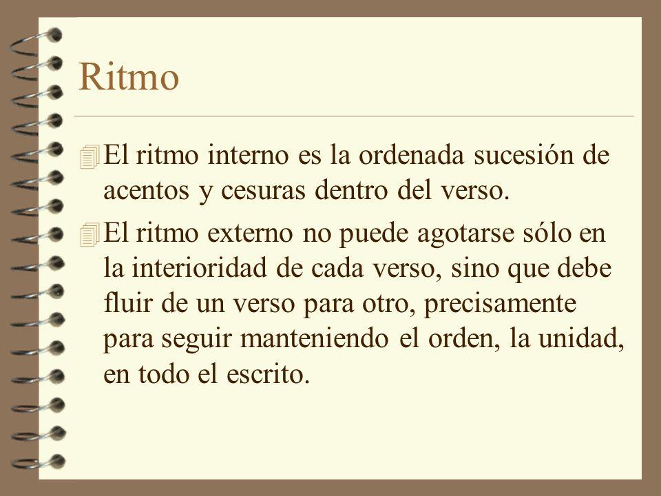 Ritmo El ritmo interno es la ordenada sucesión de acentos y cesuras dentro del verso.