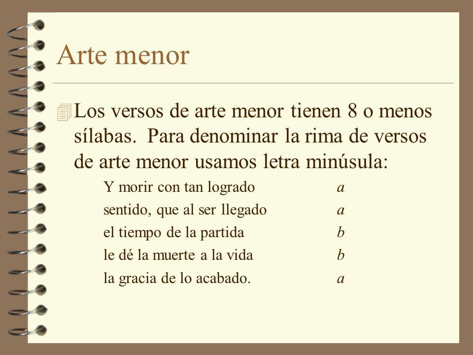 Arte menor Los versos de arte menor tienen 8 o menos sílabas. Para denominar la rima de versos de arte menor usamos letra minúsula: