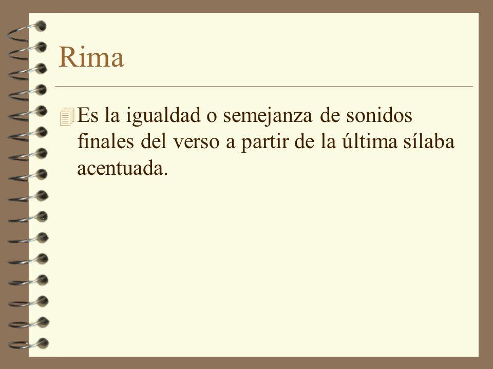 Rima Es la igualdad o semejanza de sonidos finales del verso a partir de la última sílaba acentuada.