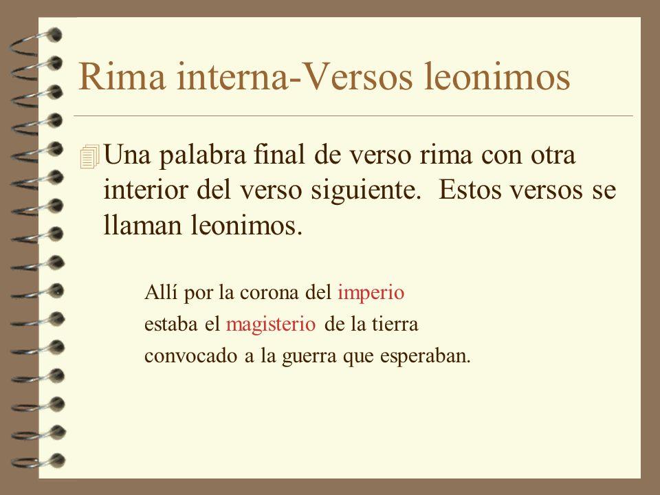 Rima interna-Versos leonimos
