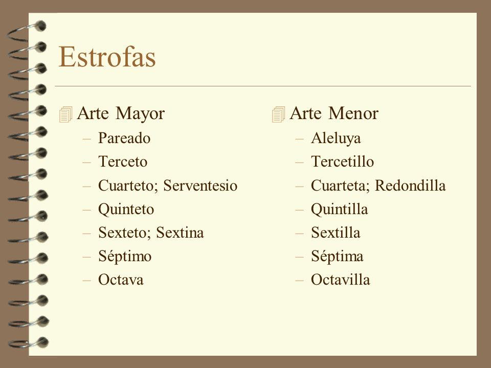 Estrofas Arte Mayor Arte Menor Pareado Terceto Cuarteto; Serventesio