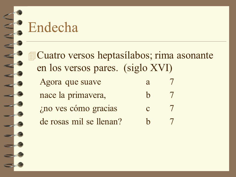 Endecha Cuatro versos heptasílabos; rima asonante en los versos pares. (siglo XVI) Agora que suave a 7.