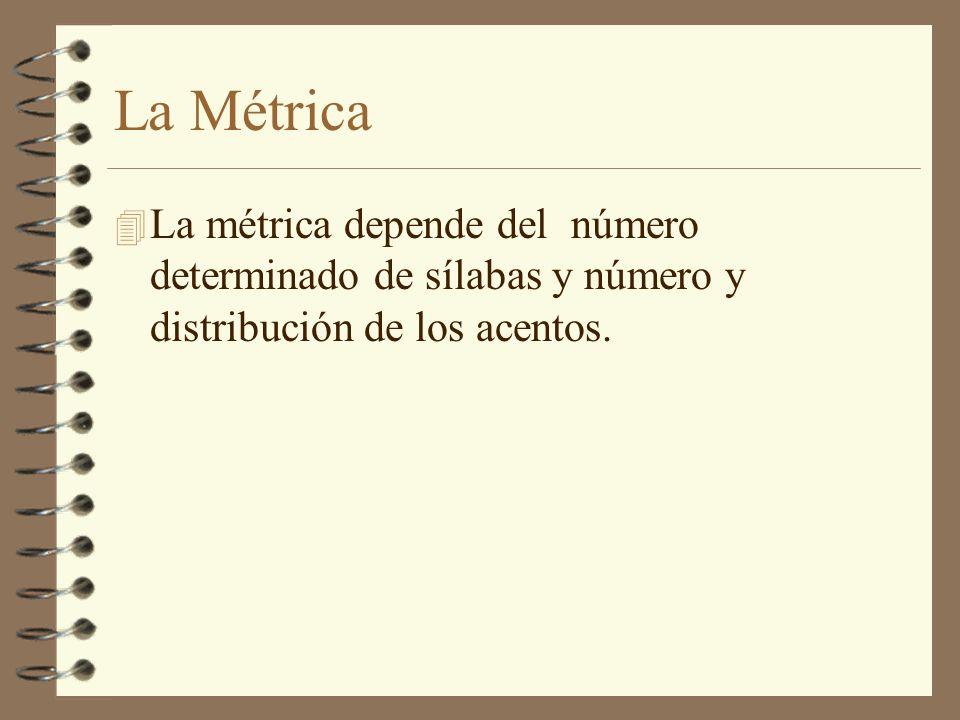 La Métrica La métrica depende del número determinado de sílabas y número y distribución de los acentos.