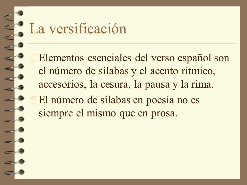 La versificación Elementos esenciales del verso español son el número de sílabas y el acento rítmico, accesorios, la cesura, la pausa y la rima.
