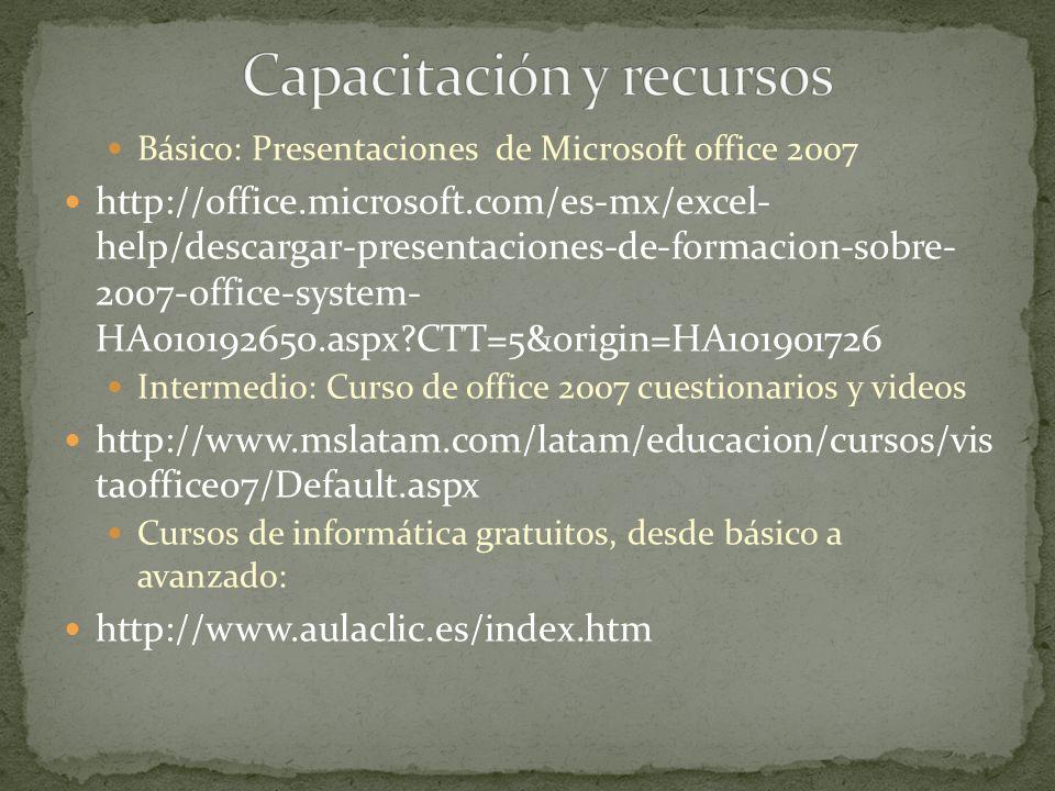 Capacitación y recursos