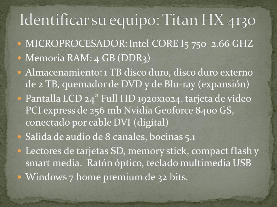 Identificar su equipo: Titan HX 4130