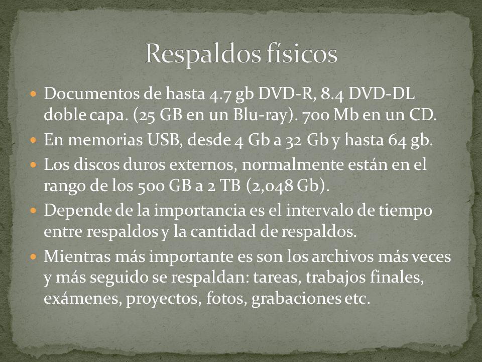 Respaldos físicosDocumentos de hasta 4.7 gb DVD-R, 8.4 DVD-DL doble capa. (25 GB en un Blu-ray). 700 Mb en un CD.