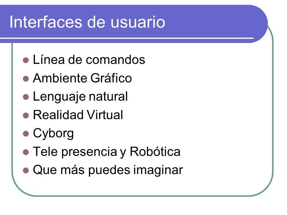 Interfaces de usuario Línea de comandos Ambiente Gráfico