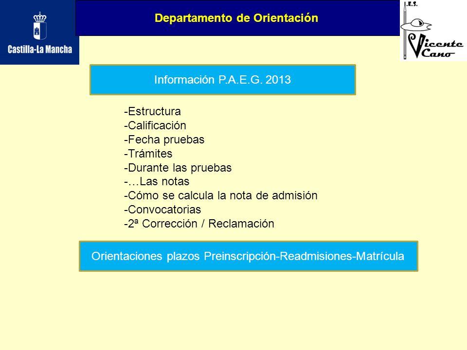 Orientaciones plazos Preinscripción-Readmisiones-Matrícula