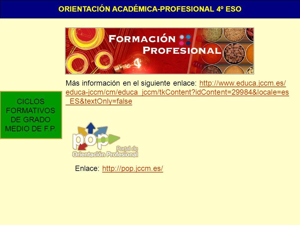 ORIENTACIÓN ACADÉMICA-PROFESIONAL 4º ESO
