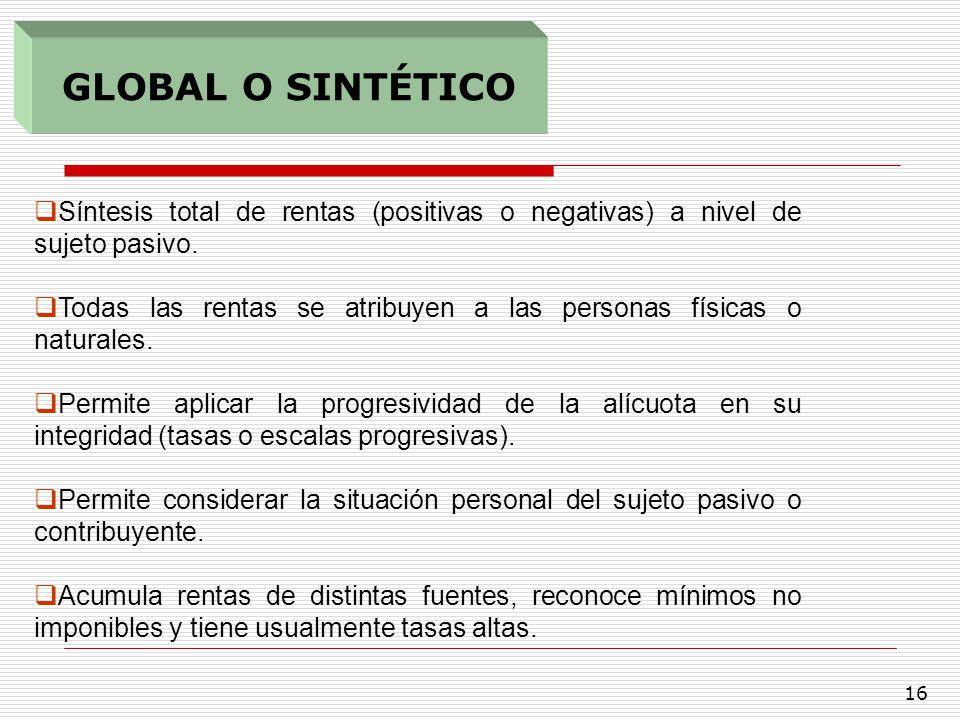 GLOBAL O SINTÉTICO Síntesis total de rentas (positivas o negativas) a nivel de sujeto pasivo.
