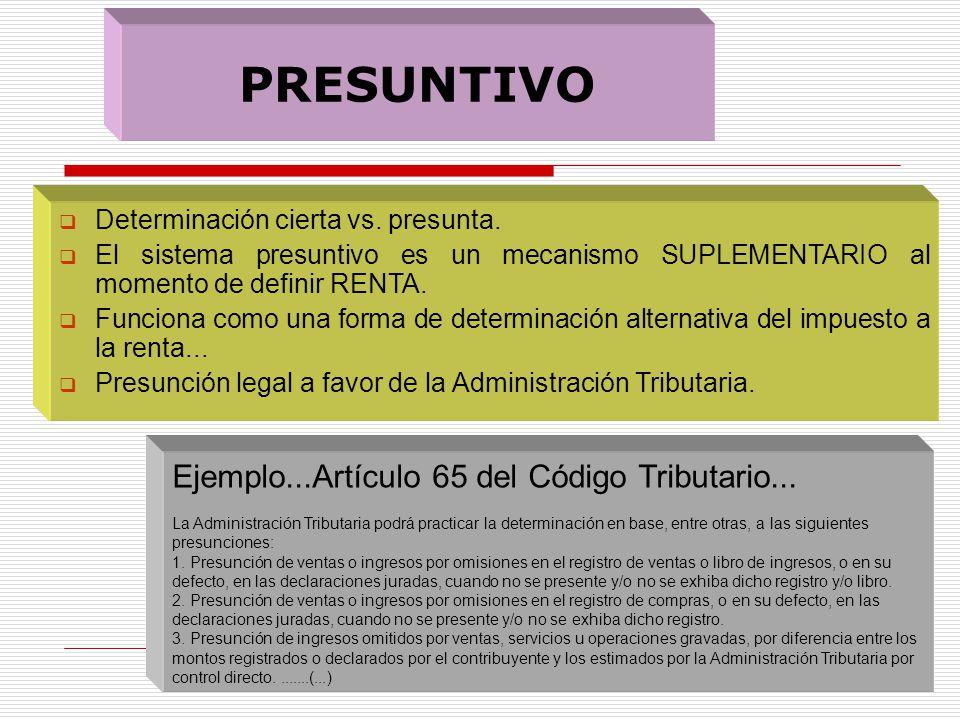 PRESUNTIVO Ejemplo...Artículo 65 del Código Tributario...