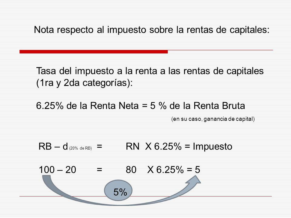Nota respecto al impuesto sobre la rentas de capitales: