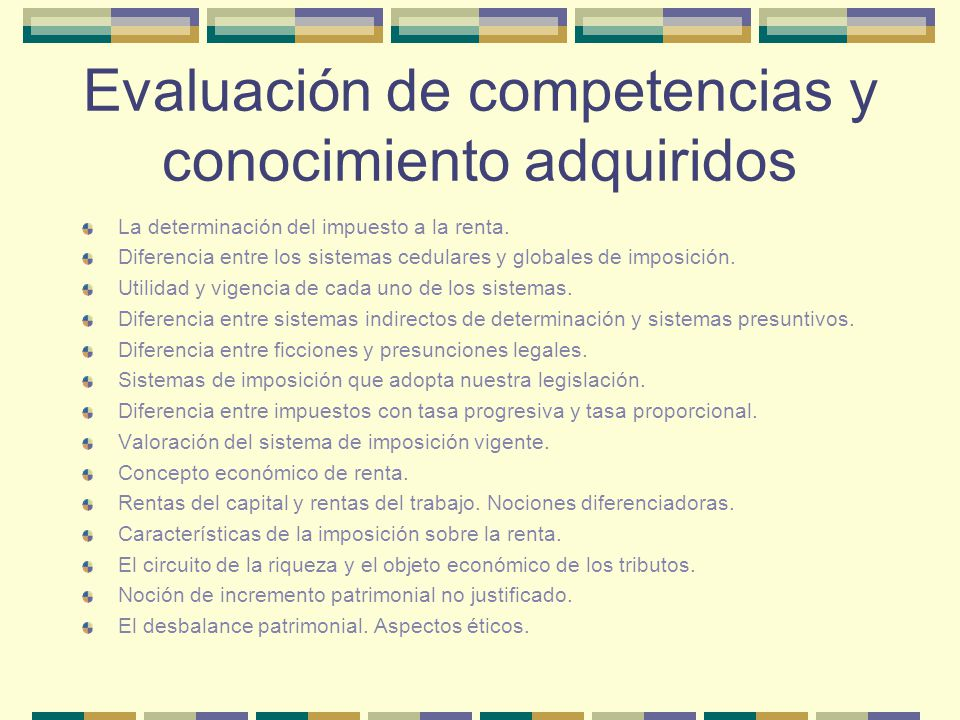 Evaluación de competencias y conocimiento adquiridos