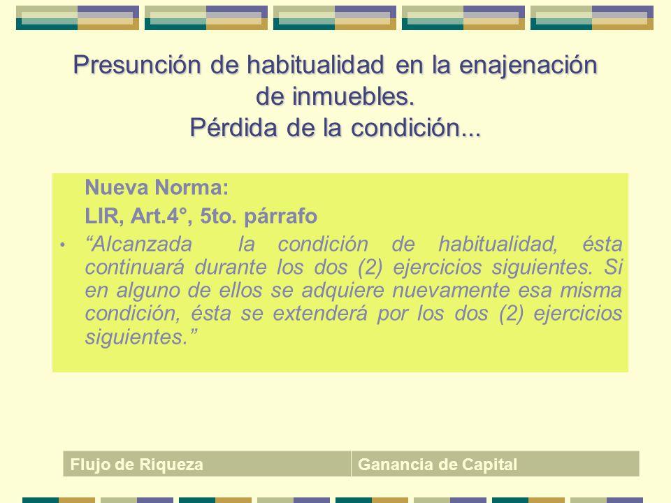 Presunción de habitualidad en la enajenación de inmuebles
