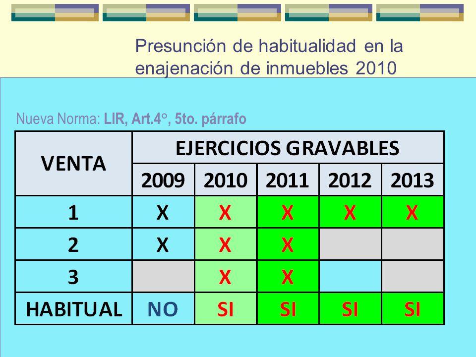 Presunción de habitualidad en la enajenación de inmuebles 2010