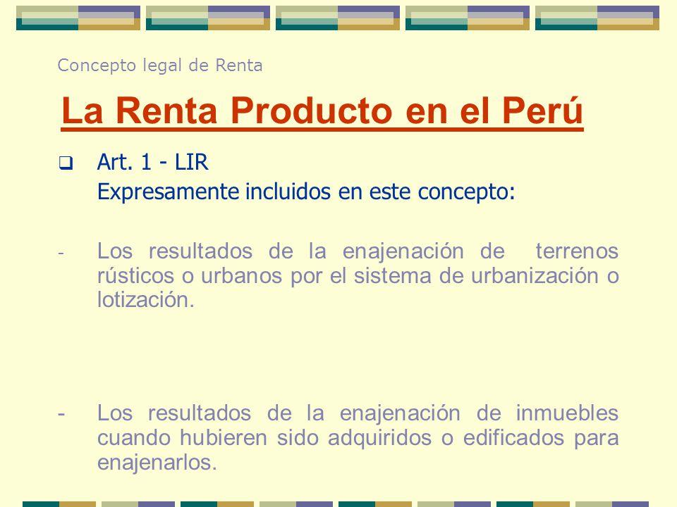 La Renta Producto en el Perú
