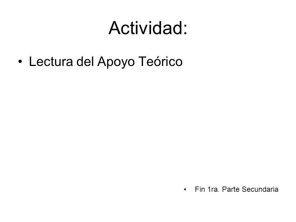 Actividad: Lectura del Apoyo Teórico Fin 1ra. Parte Secundaria