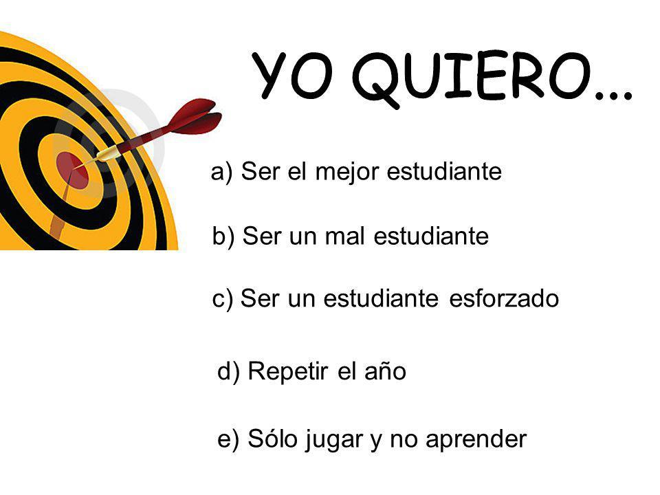 YO QUIERO... a) Ser el mejor estudiante b) Ser un mal estudiante