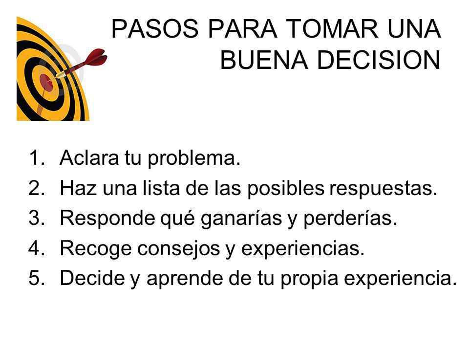PASOS PARA TOMAR UNA BUENA DECISION