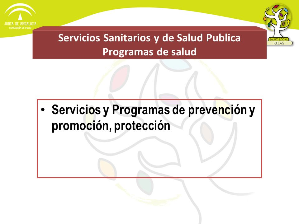 Servicios Sanitarios y de Salud Publica Programas de salud