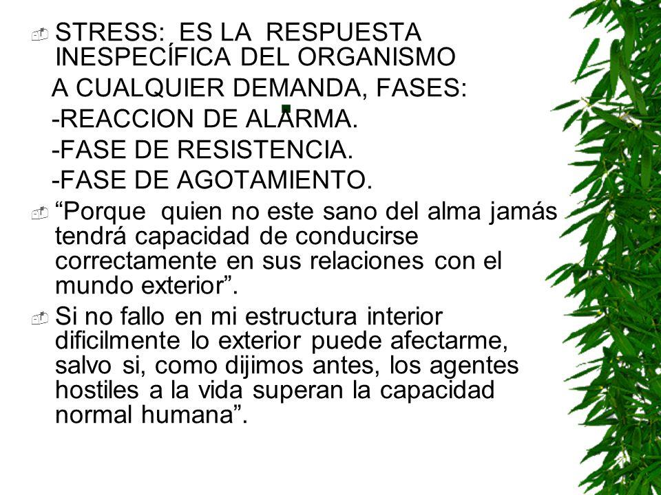 . STRESS: ES LA RESPUESTA INESPECÍFICA DEL ORGANISMO