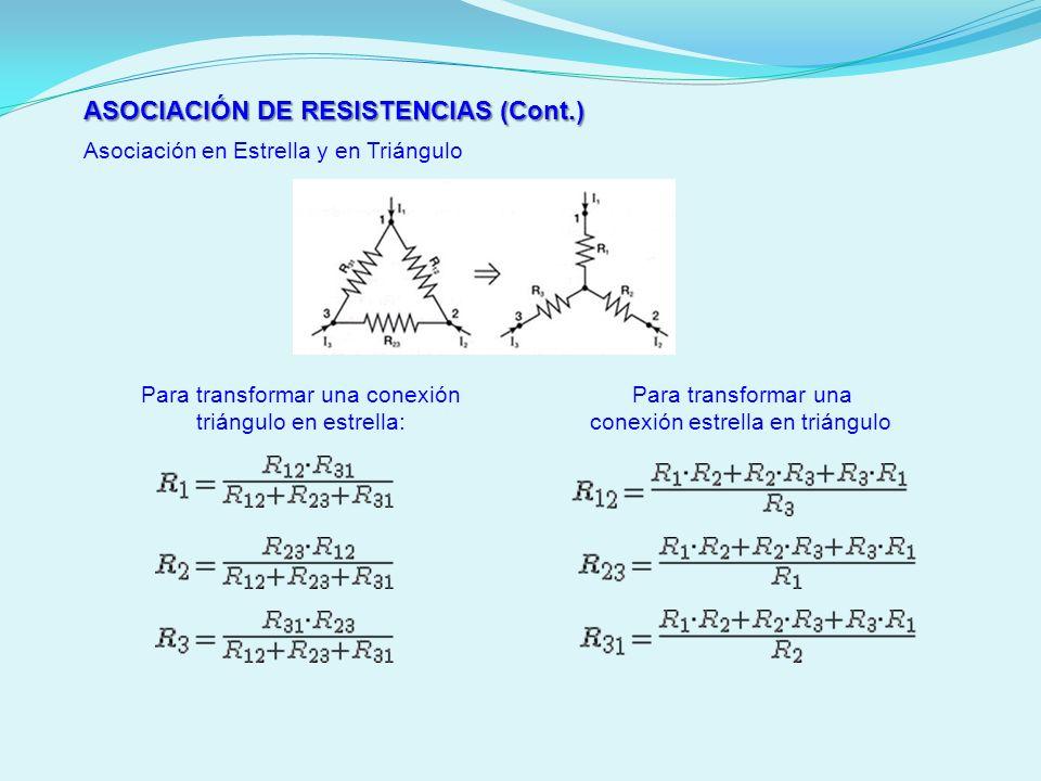 ASOCIACIÓN DE RESISTENCIAS (Cont.)