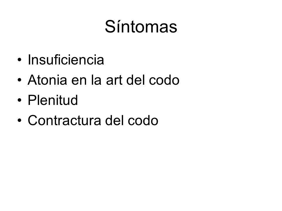 Síntomas Insuficiencia Atonia en la art del codo Plenitud