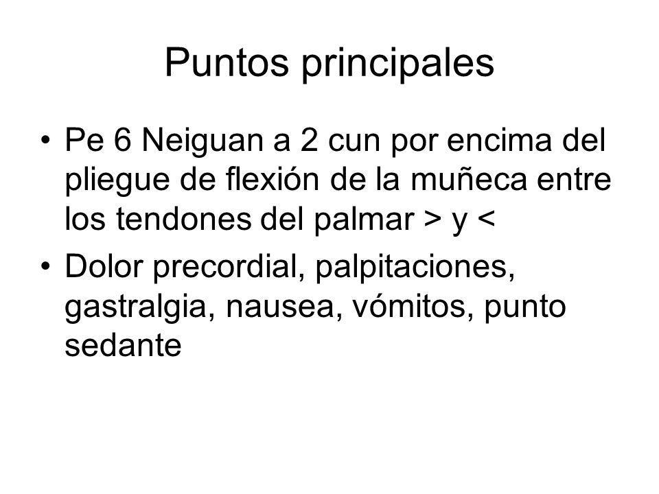 Puntos principales Pe 6 Neiguan a 2 cun por encima del pliegue de flexión de la muñeca entre los tendones del palmar > y <
