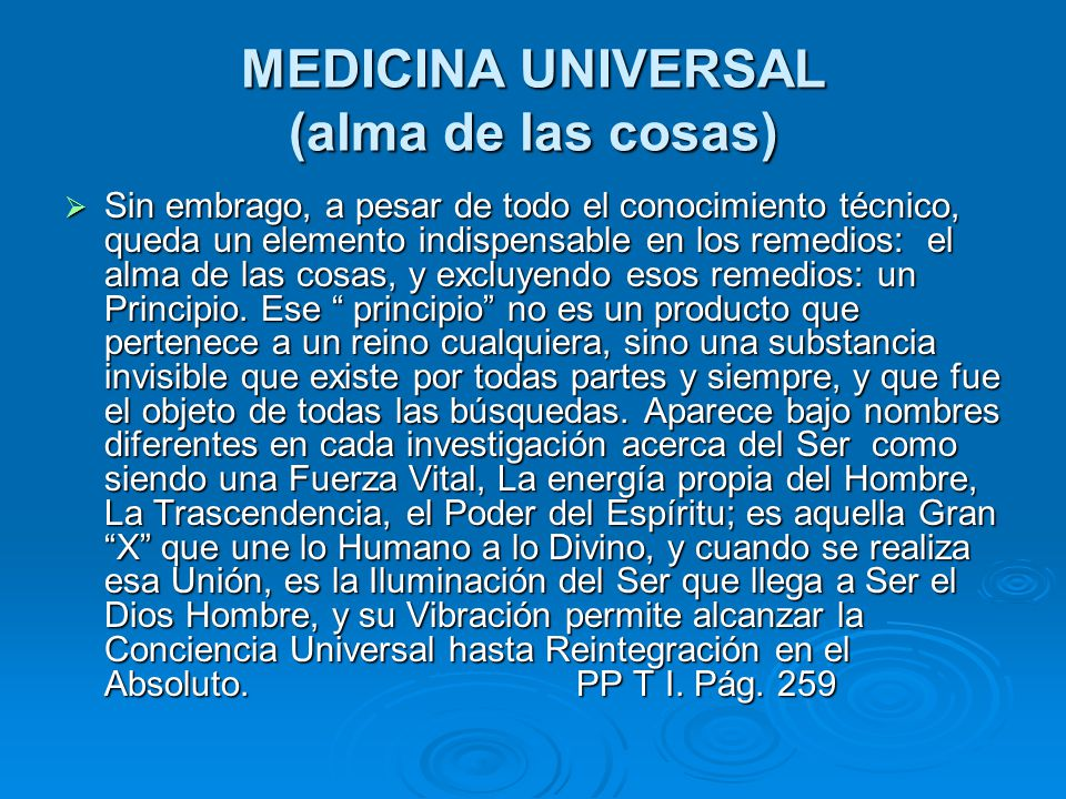 MEDICINA UNIVERSAL (alma de las cosas)
