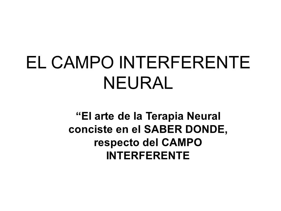 EL CAMPO INTERFERENTE NEURAL