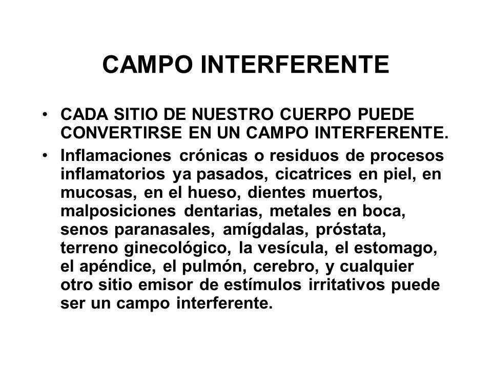 CAMPO INTERFERENTE CADA SITIO DE NUESTRO CUERPO PUEDE CONVERTIRSE EN UN CAMPO INTERFERENTE.