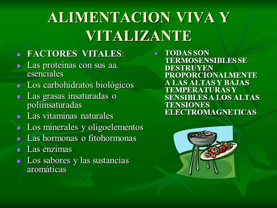 ALIMENTACION VIVA Y VITALIZANTE