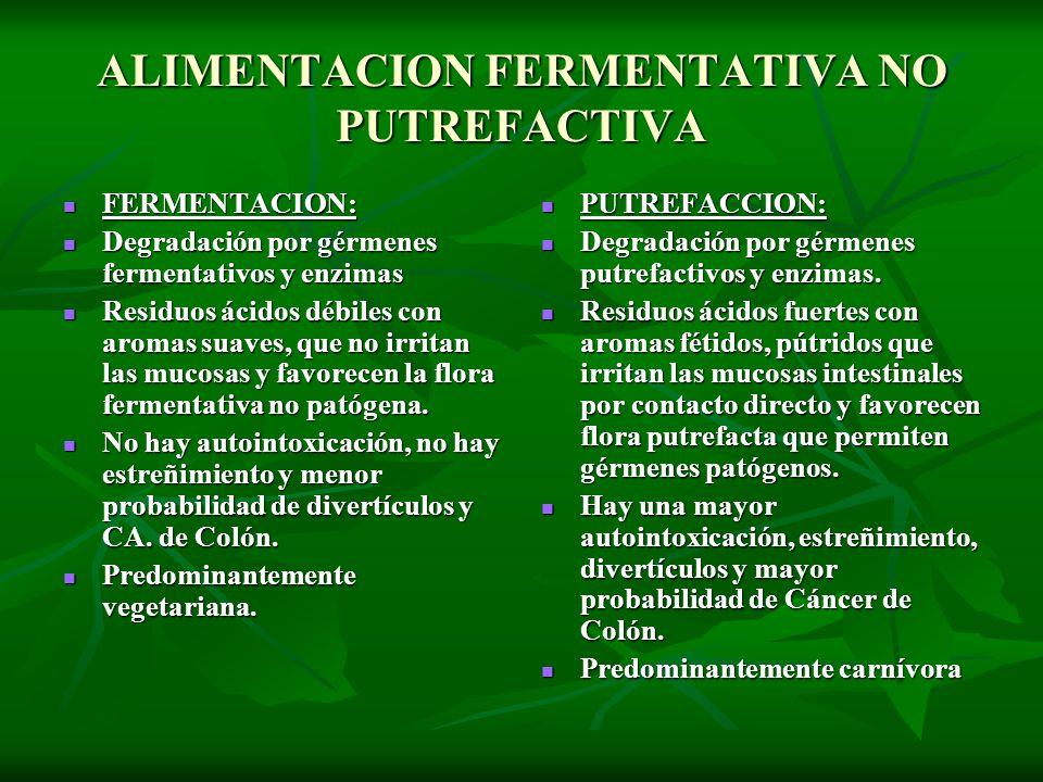 ALIMENTACION FERMENTATIVA NO PUTREFACTIVA