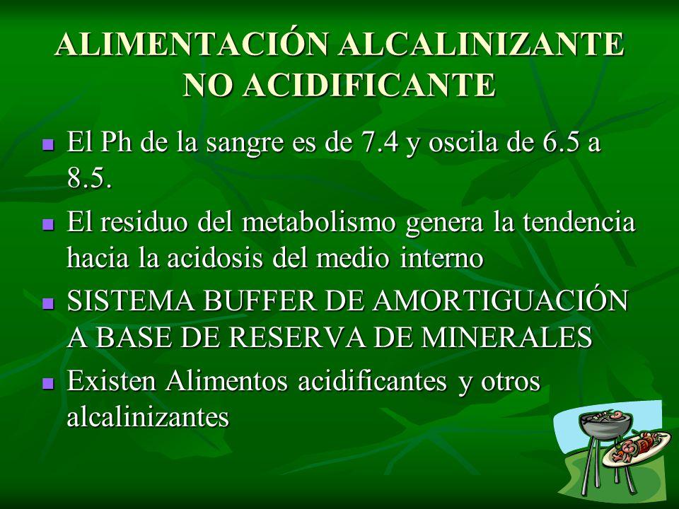 ALIMENTACIÓN ALCALINIZANTE NO ACIDIFICANTE