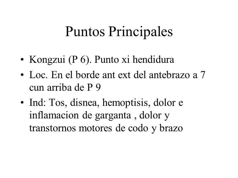 Puntos Principales Kongzui (P 6). Punto xi hendidura